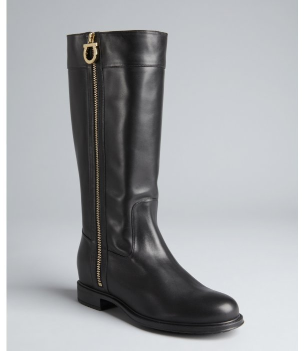Salvatore Ferragamo black leather side gancio zip 'Tresha' boots