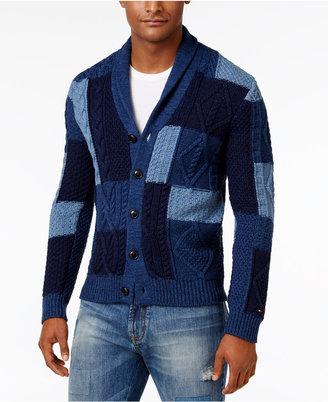 Tommy Hilfiger Men's Shawl-Collar Patchwork Cotton Cardigan $179 thestylecure.com
