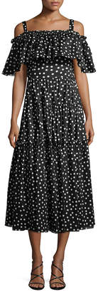 Dolce & Gabbana Cold-Shoulder Polka Dot Dress