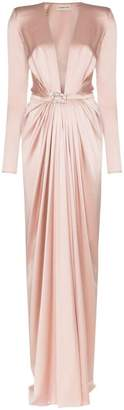 Alexandre Vauthier Ruched belted silk gown