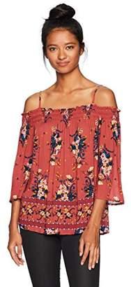 Jolt Women's 3/4 Sleeve Cold Shoulder Top with Lace Trim
