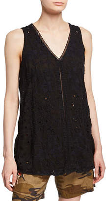 Johnny Was Louie Eyelet V-Neck Flowy Tunic Tank