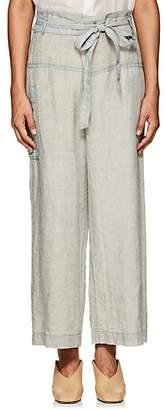 Pas De Calais Women's Micro-Checked Linen Fold-Over Pants - Blue