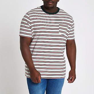 River Island Mens Big and Tall white stripe slim fit T-shirt