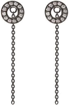 Louise Varberg Jewellery - White Sapphire Hula Earrings Black Rhodium
