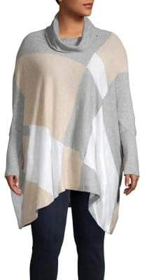 Calvin Klein Plus Cowlneck Colorblock Handkerchief Tunic