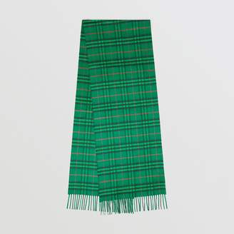 Burberry The Classic Vintage Check Cashmere Scarf, Green