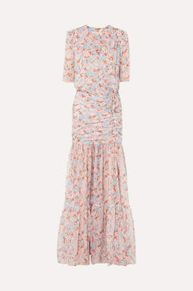 Veronica Beard Mick Ruched Floral-print Silk-chiffon Maxi Dress - Pink