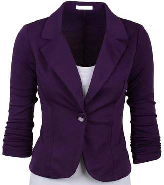 Smeiling-CA Womens Slim Fit Work Lapel Casual 1-Button Office Suit Blazer Jackets L