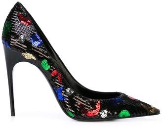 Saint Laurent star and moon sequinned pumps