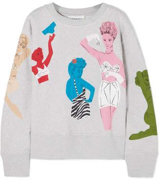 Moschino - Beaded Appliquéd Cotton-jersey Sweatshirt - Gray