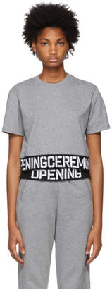 Opening Ceremony Grey Elastic Logo Cropped T-Shirt