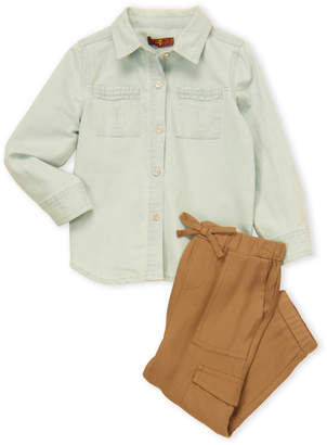 7 For All Mankind Toddler Girls) 2-Piece Denim Shirt and Cargo Pants