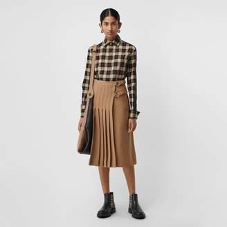 Burberry Stripe Detail Check Cotton Shirt , Size: 06, Black