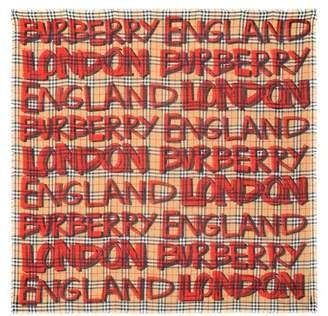 Burberry Graffiti Check wool and silk scarf