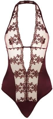 Fleur of England Silk Embroidered Plunge Bodysuit