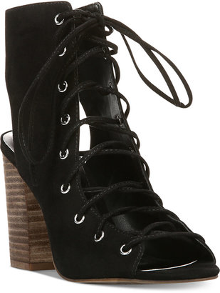 Carlos by Carlos Santana Jolene Lace-Up Block-Heel Sandals $79 thestylecure.com