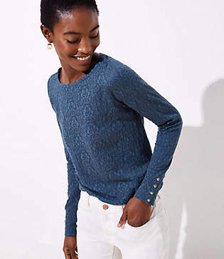 LOFT Lacy Button Cuff Long Sleeve Tee