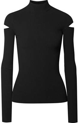 Helmut Lang Cutout Ribbed-knit Turtleneck Sweater - Black