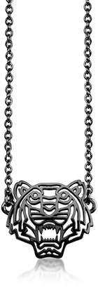 Kenzo Ruthenium Plated Sterling Silver Cut Out Tiger Necklace w/Crystal