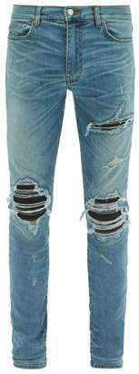 Mx1 Leather Patch Slim Leg Jeans - Mens - Light Blue