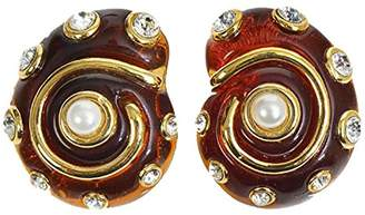 Kenneth Jay Lane Faux Tortoiseshell Snail Shell Clip On Earrings Resin Pearls & Crystals Costume