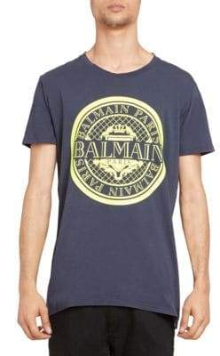 Balmain Men's Coin Flocked Logo Graphic T-shirt - Blue Yellow - Size Medium