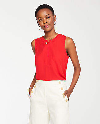 Ann Taylor Button Neck Shell