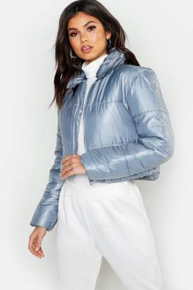 boohoo Cropped Collared Puffer Jacket
