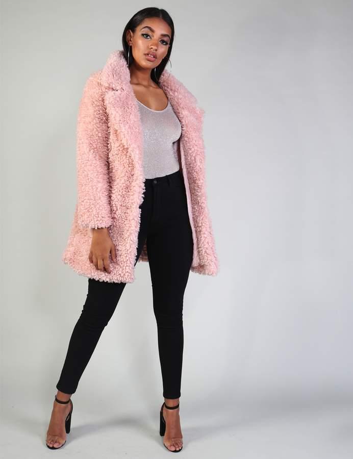 Collar Teddy Faux Fur Coat