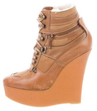 Burberry Leather Wedge Boots Leather Wedge Boots