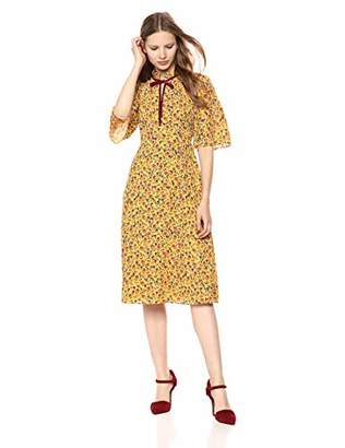 Donna Morgan Women's Printed Midi Dress with Flutter Sleeve