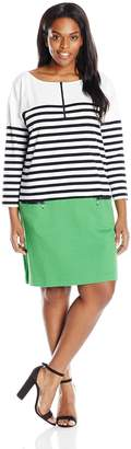 Joan Vass Women's Plus Size Striped Cotton Dress with Zippers