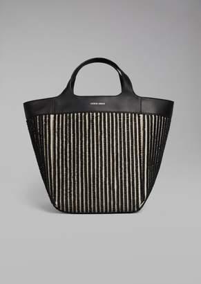 Giorgio Armani Leather And Linen Shopper Bag