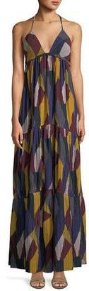BA&SH Patterned Weave V-Neck Maxi Dress