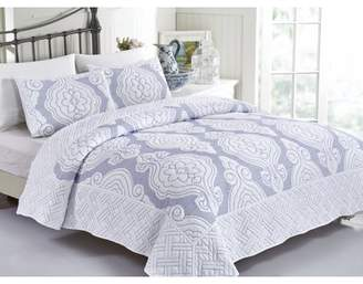 California Design Den Royal Damask 3-Piece King Size Navy Quilt Set, Damask Luxury Quilted Bedspreads, Navy