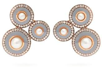Selim Mouzannar - Mina Diamond And Pearl Earrings - Womens - Grey