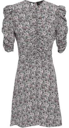 De La Vali Ruched Printed Crepe De Chine Mini Dress