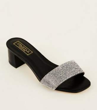New Look Black Diamanté Strap Heeled Mules