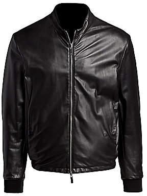 Giorgio Armani Men's Leather Reversible Zip Blouson