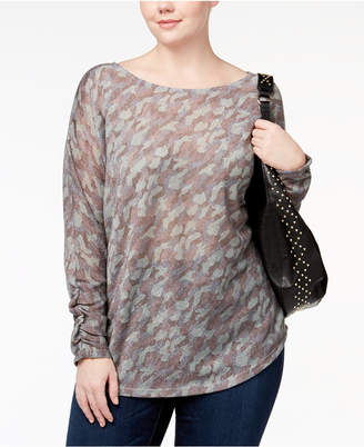 INC International Concepts I.n.c. Plus Size Metallic-Camouflage-Top, Created for Macy's