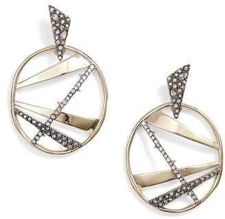 Alexis Bittar Large Crystal Encrusted Plaid Hoop Earrings