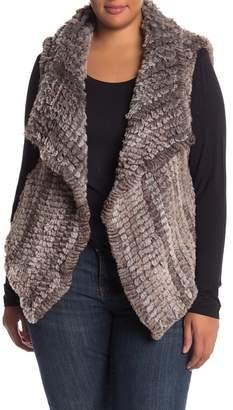 Bagatelle Faux Fur Open Front Vest (Plus Size)