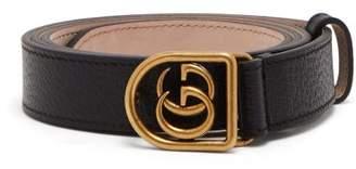 Gucci Gg Encased Buckle Grained Leather Belt - Mens - Black