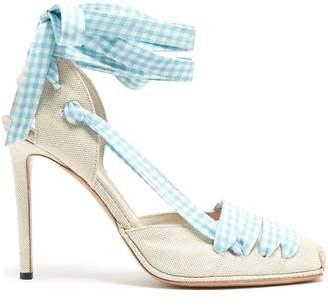 Altuzarra D'Orsay gingham-ribbon linen pumps