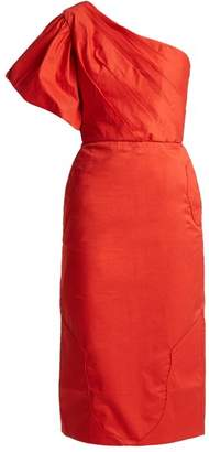 Johanna Ortiz Tiger Lily Stretch Cotton Poplin Ruffle Mini Dress - Womens - Red