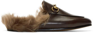 Gucci Brown Fur Princetown Slippers