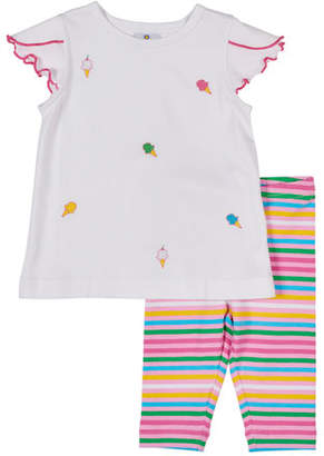 Florence Eiseman Ice Cream Cone Embroidered Top w/ Multi-Stripe Leggings, Size 12-24 Months