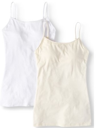 a6ec2cd7c4 No Boundaries Juniors  Shelf Bra Cami with Adjustable Straps 2-Pack