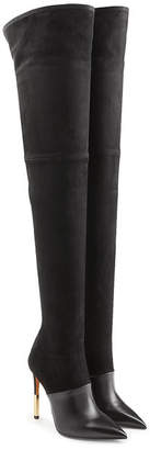 Balmain Thigh-high Stiletto Boots in Leather and Suede